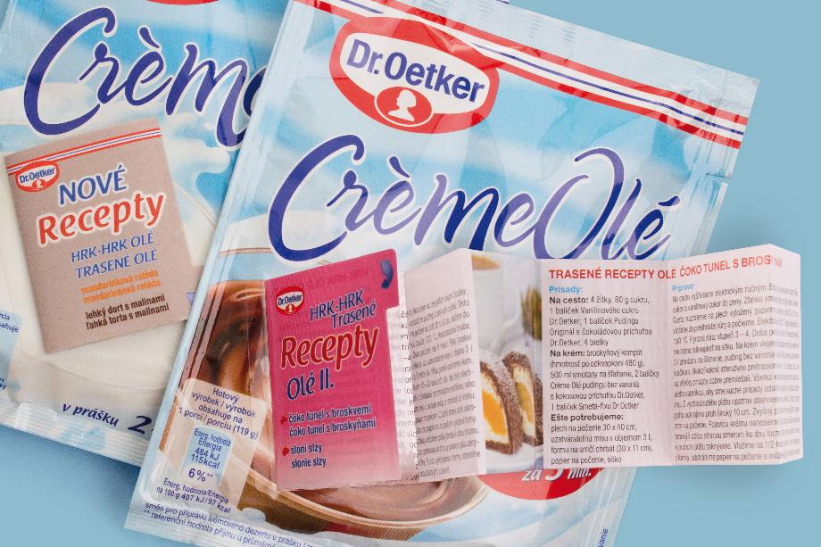 etikety skládané booklet peel off vložený letáček label design
