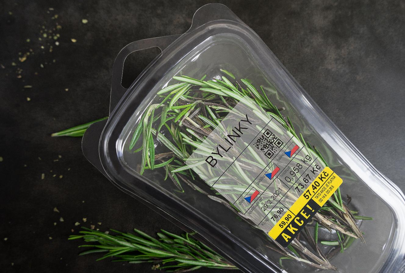 transparentní termo etiketa samolepící bylinky label design