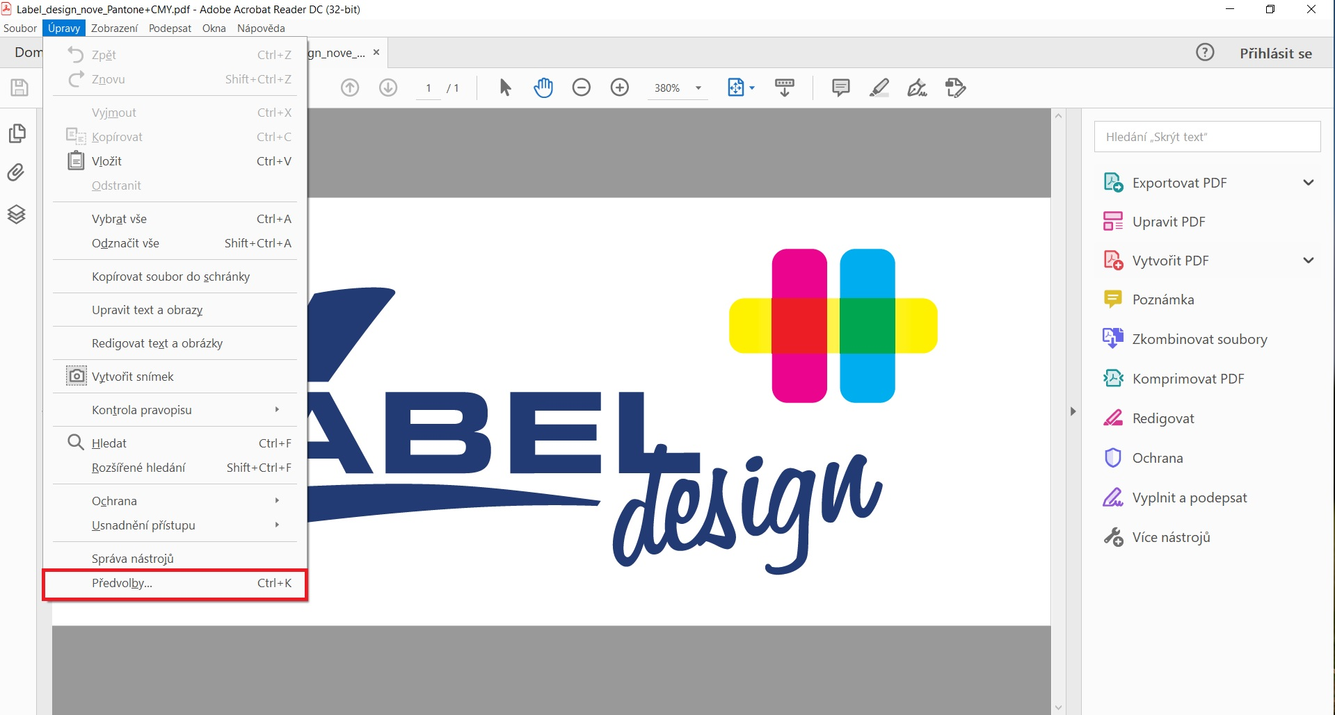 náhled přetisku 1 label design